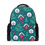 Mochila para portátil con patrón de Navidad, mochila escolar casual para viajes