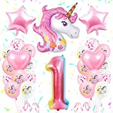 SPECOOL Unicornio Decoración de Cumpleaños 1 Año, Globo de Unicornio 3D con Pancarta de Cumpleaños Numero 1 Cumpleaños Globos Latex Globos para Decoracion de Fiesta de Cumpleaños Niña