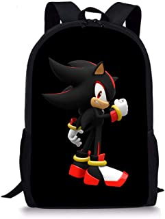 Sonic Pattern Backpack, Lightweight Multi-Function College School laptop Bookbag 17 Inches