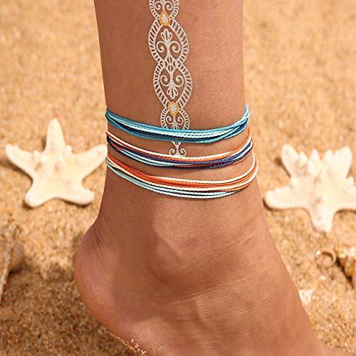 WEIYYY Tobilleras Multicapa Vintage para Mujer Luna Estrella Colgante Tobillera Cadena de Cuerda joyería de pie Verano Playa Tobillera Pulsera en Pierna, 4405