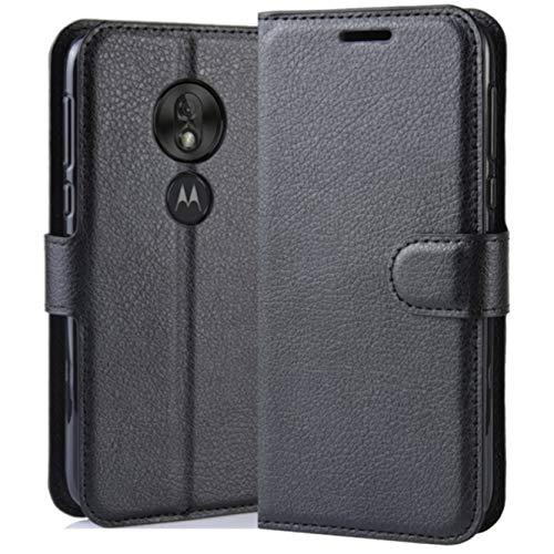 HualuBro Motorola Moto G7 Play Hülle, Premium PU Leder Stoßfest Klapphülle Schutzhülle HandyHülle Handytasche Wallet Flip Hülle Cover für Motorola Moto G7 Play Tasche (Schwarz)