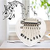 3 estilos lindo piano de pulgar Kalimba de 8 teclas, mini piano de pulgar, niños exquisitos para bolsos, decoración para principiantes, reproducción(Heart shaped crystal)