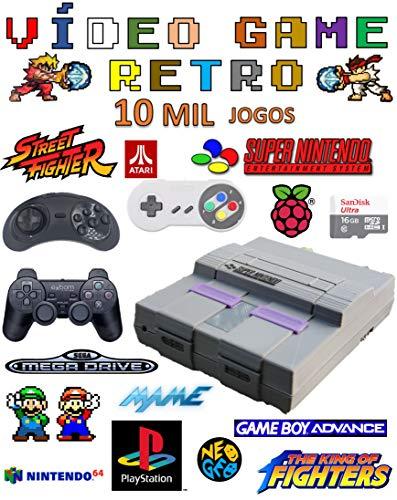 Vídeo Game Retro Case Snes Com 10 Mil Jogos 16gb Com 2 Controles