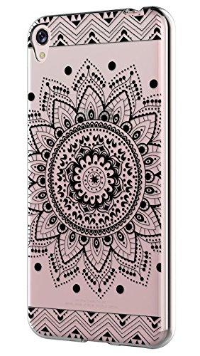 Sunrive Coque pour ASUS ZenFone Live ZB501KL 5,0 Pouces Silicone Étui Housse Protecteur Souple TPU Gel Transparent Back Case(TPU Fleur Noire)+ Stylet OFFERTS