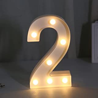 Yaeer Decorative Led Light Up Number Letters, White Plastic Marquee Number Lights Sign Party Wedding Decor Battery Operate...