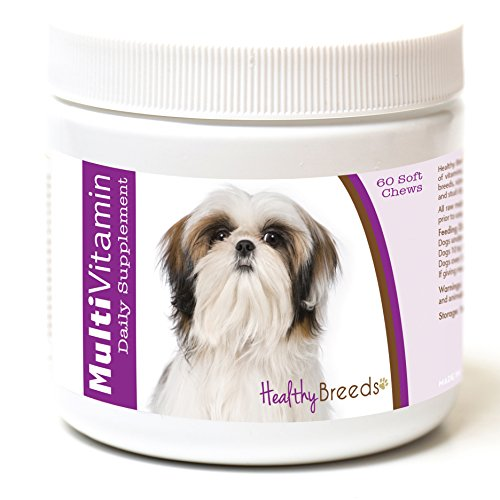 Healthy Breeds Dog Multivitamin Soft Chew Treats for Shih Tzu - Over 200 Breeds - for Small Medium & Large Breeds - Easier Than Liquid or Powders - 60 Chews