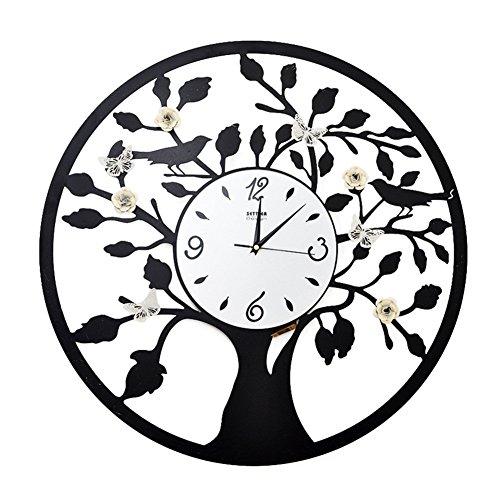 Flashing- 23,6-inch creatieve moderne ronde wandklok, ijzeren klok/glazen klok gezicht/lus secondenbeweging/koolstofbatterij (uitsluitend batterij) horloges en horloges