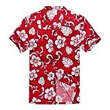 Men's Hawaiian Shirt Aloha Shirt L Red Hibiscus