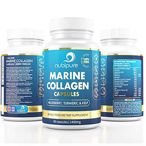 High Strength Marine Collagen Tablets - Skin, Hair, Nails & Joints - Fortified with Hyaluronic Acid, Blueberry, Biotin, Vitamin C, E, B2, B7 & Minerals - 1400MG - Hydrolysed Type 1 90 Capsule