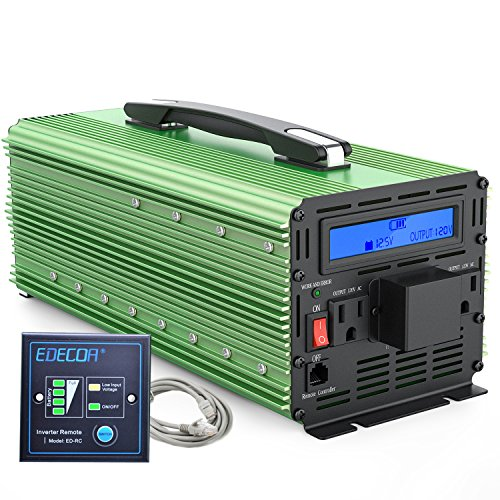 EDECOA 3000W Power Inverter DC 12V to 110V AC Modified Sine Wave Converter with Remote Controller and Hardwire Terminal