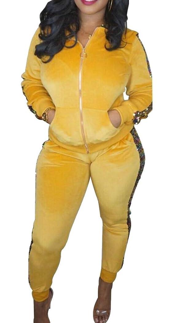 科学者眉ロマンス女性のジャケットのスパンコールのパーカージョガーベロアパンツ