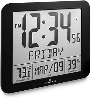 Marathon Slim Atomic Full Calendar Clock with Large 3.25