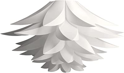 kwmobile Lampe puzzle design lotus - Abat-jour luminaire montage DIY - Lumière décoration fleurs salon chambre - Suspension ou lampadaire - blanc