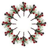 54PCS Christmas Artificial Red Berries Pine 18 Red Berries 18 Pine Needles 18 Pine Cones Snowy Flower Picks Pine Cones Fake Pine Picks for Xmas Flower Arrangements Wreaths and Holiday Decorations