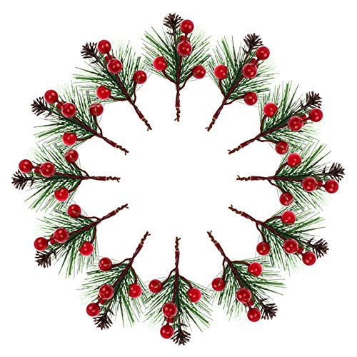 Ujuuu 54 Pieces Christmas Artificial Red Berries Pine Snowy Flower Picks Pine Cones Fake Pine Picks for Christmas Flower Arrangements Wreaths and Holiday Decorations