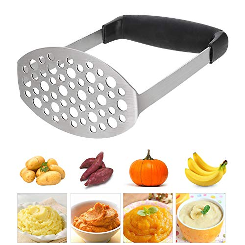 #304 Stainless Steel Potato Masher Fruit Press with Black Soft Touch Handles Hole Diameter 0.3cm Great for Mashed Potatoes Anpro Potato Ricer