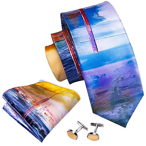 ZAIZAI Juego de corbatas de seda con estampado multicolor para hombre, 8,5 cm, corbatas azules y pañuelos (color : A, tamaño: talla única)