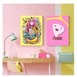 XuFan Adventure Time Posters Cartoon Wall Poster Painting Prints Decoracin del hogar Sala de Estar Dormitorio Bar Home Art-50x70cmx2 Sin Marco