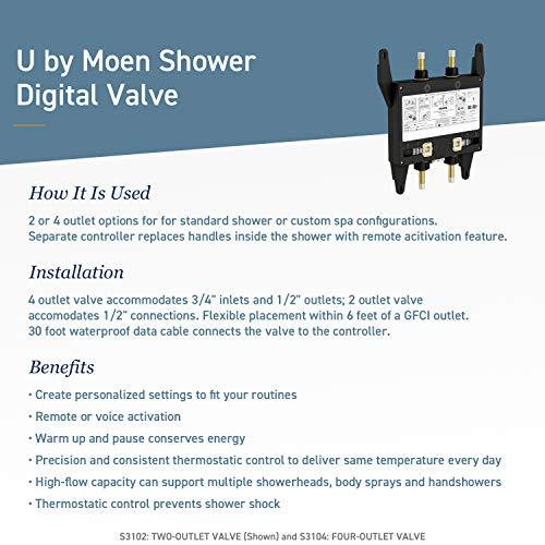 Moen S3104 Bathroom Shower U by Moen Digital Thermostatic Shower Valve 4-Outlet [4-Outlet]