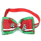 Materiale: nastro gros grain. Colori: rosso e verde. Circonferenza del collo: da 19a 34cm (regolabile). La confezione include: 1papillon regolabile, di Natale, per animali domestici.