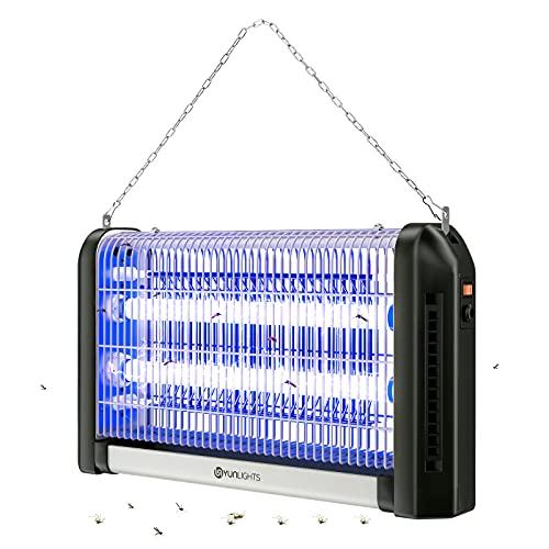 YUNLIGHTS Lámpara Antimosquitos Electrico Exterior & Interior 28W Lampara Matamoscas Electrico, Lámpara Anti Mosquitos Moscas, Repelente Lampara para Mata Mosquitos y Insectos, Control Insecto (Negro)