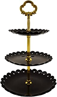 Artliving 3-tier Plastic Cake Stand-Dessert Stand-Cupcake Stand-Tea Party Serving Platter Black Gold