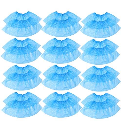 Happyyami 100 Piezas Cubrezapatos Desechables Polietileno el Plastico Protector de Zapatos Azul Impermeable Antideslizante Para Interior y Exterior(50 pares)