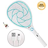 ZOMAKE Detachable Electric Mosquito Fly Swatter Fly Catcher Zapper, USB Charging with LED