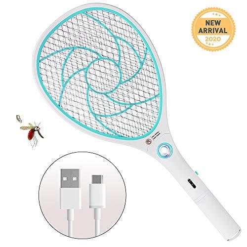 ZOMAKE Zerlegt Elektrische Moskito Fliegenklatsche Fliegenfänger Zapper, USB-Aufladung mit LED-Licht(Blau)