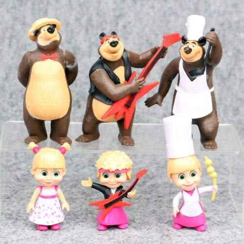Wonderful 6 PCS Masha and The Bear Action Figures Set Party Toys Dolls Gift Cake Toppers Durable
