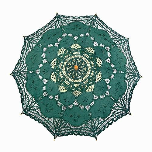 MVBGLK Blumenschirm Spitze Spitzenschirm Kreatives Handwerk Regenschirm Regenschirm Direktschirm Sonnenschirm Deko Regenschirm - grüner Radius 48 cm Schirmdurchmesser 80 cm