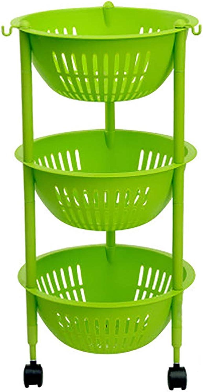 HUYP Fruit Kitchen Removable Storage Basket 3-Layer Storage Rack Storage Rack Vegetable Basket (color   Green)