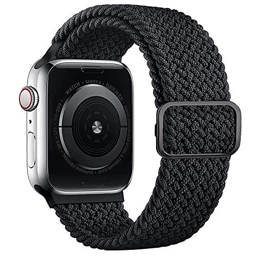 Harikiri Correa trenzada de un solo bucle compatible con correas de Apple Watch 38 mm 40 mm 41mm 42 mm 44 mm 45mm, hebilla ajustable, pulsera deportiva elástica para iWatch Series 7 6 5 4 3 2 1 SE