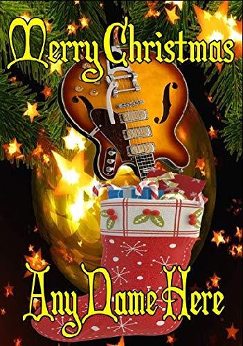 Semi Akoestische Gitaar nxc92 Vrolijk Kerstmis Kerstkaart A5 Gepersonaliseerde Wenskaarten Geplaatst door US Gifts for All 2016 uit Derbyshire UK