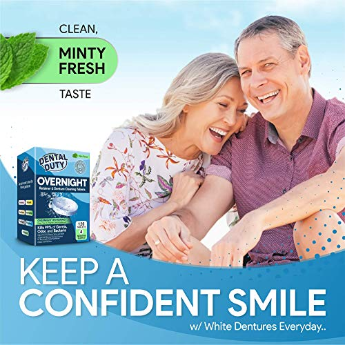 120 Overnight Retainer & Denture Cleaning Tablets- Extra Strength, Best Cleaner Removes Bad Odor, Plaque, Stains from Retainers, Night Guards, Mouth Guard, Invisalign,& Dental Appliances. Made In USA.