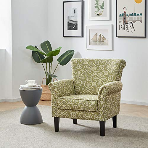 BELLEZE Rosette Scroll Arm Fabric Upholstered Club Chair Nailhead Trim Accent Chair, Sprout Green