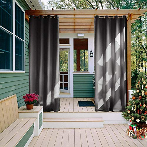 NICETOWN Outdoor Curtain for Patio Waterproof 84 inch Length, Rustproof Grommet Blackout Indoor Outdoor Divider Thermal Insulated Vertical Drapes for Gazebo & Deck, 1 Panel, 52' W, Grey