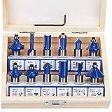 Hseamall 12 pcs vástago de 1/2 '' 12. 7mm juego de brocas con punta de carburo de tungsteno para puertas, mesas, estantes, gabinetes, madera de bricolaje