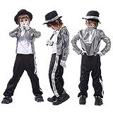 Gift Tower Disfraz infantil para carnaval, disfraz de Michael Jackson, color plateado, M, para 110-120 cm
