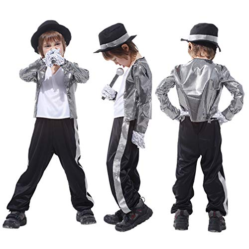 Gift Tower Kostüm Kinder Fasching Halloweenkostüm Verkleidung Kostüm Michael Jackson Jungen Silber L/für 120-130cm