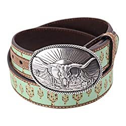 Measures 1.5 inches or 38mm in width Cactus print has a subtle leopard print on the cacti Removable silver tone buckle Plaque buckle features a long horn on a south western scene Durable leather construction with man made fabric inlay.