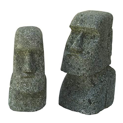 STONE art & more 2er Set Moai, Osterinsel-Kopf, 15 cm und 20 cm, grüner Lavastein, Basanit, Steinmetzarbeit, frostfest
