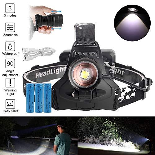 XPH50 Projecteur LED Zoomable 3-Mode Phare Chargeur USB 18650 Batterie Tête Lampe De Poche Chasse Lampe De Poche Power Bank