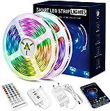 Beaeet Striscia LED 20 Metri,Strisce LED RGB con APP Bluetooth e Telecomando,Strisce led S...