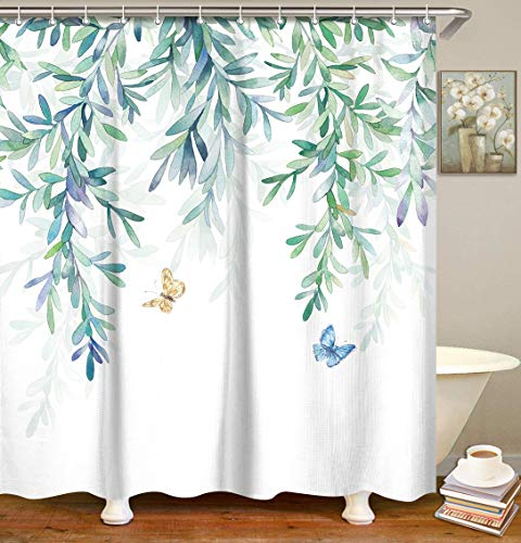 LIVILAN Watercolor Green Leaves Shower Curtain with Butterfly White Background with12 Hooks , Eucalyptus Fabric Bathroom Curtain Modern Bathroom Accessories, Machine Washable (72X72)