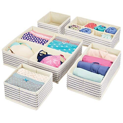 mDesign 5er-Set Kleiderschrank Organizer – praktische Aufbewahrungskiste für das Schlafzimmer mit mehreren Fächern – flexibel verwendbare Stoffbox in 4 Größen – naturfarben und blau