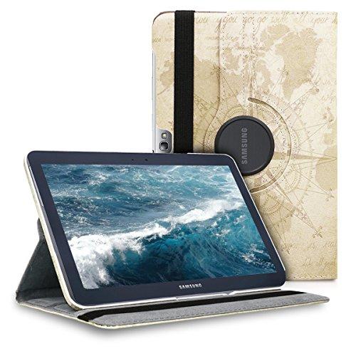 kwmobile Funda Compatible con Samsung Galaxy Note 10.1 N8000 / N8010 - Carcasa de Cuero sintético para Tablet mapamundi Vintage marrón/marrón Claro