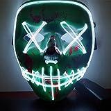 CompraFun Máscara LED Halloween, Máscara Disfraz Luminosa Craneo Esqueleto, para Navidad Halloween Cosplay Grimace Festival Fiesta Show Funciona con Baterías (no Incluidas)(Verde)