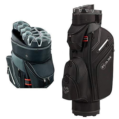 Ram Golf Premium Cart Bag with 14 Way Molded Organizer Divider Top Black/Silver