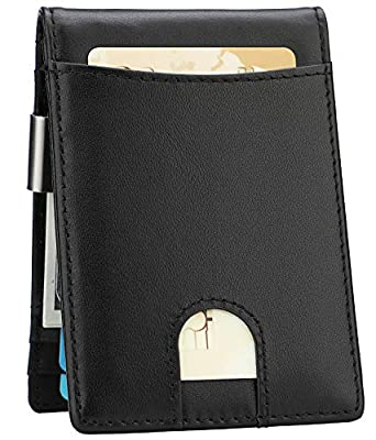 Money Clip Wallet - Mens Slim Front Pocket Leather Wallet RFID Blocking Minimalist Mini Wallet (Style 7 - Black/Black)
